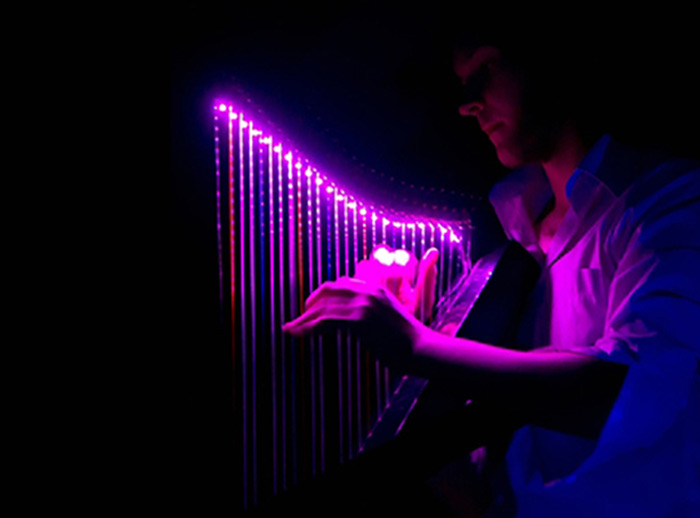 Lumiere Tales, celtic harp, music, light show, performance, neon